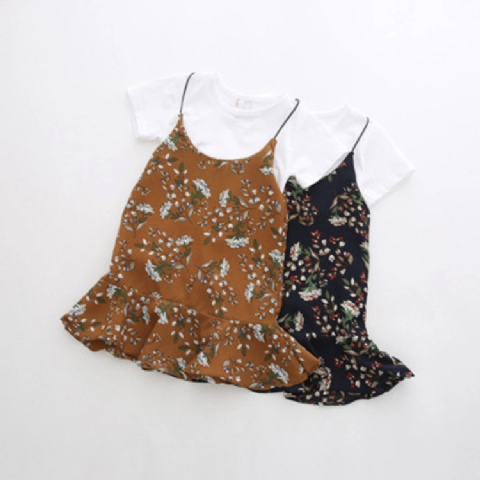 FLORAL DRESS AND T-SHIRT